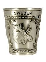 Shotsglas metall älg, vikingaskepp, svensk flagga