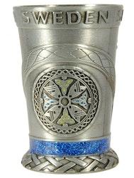 Shotsglas metall viking, keltisksköld, vikingaskepp