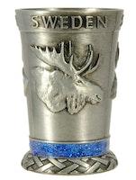 Shotsglas metall älg, svensk flagga, karta