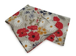 Handduk och handmålad smörkniv, blomsteräng