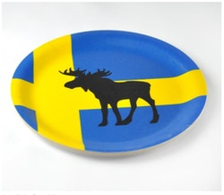 Glasunderlägg kant, älg och Svensk flagga