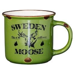 Mugg Stengods Sweden Moose, grön