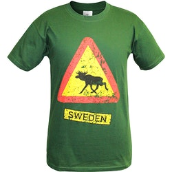 T-Shirt Älgvarning, Sweden, Grön