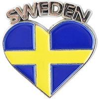 Magnet Sverigehjärta i metal, 3,5cm