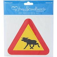 Klistermärke Älg varning 10,5cm