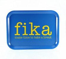 Bricka make time FIKA blå / gul