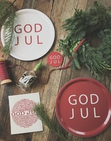 Glasunderlägg kant, god jul, röd