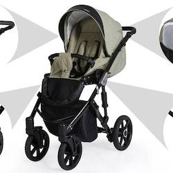 Barnvagn,Liggdel + Bilbarnstol + Sittdel - 3in1 Mila