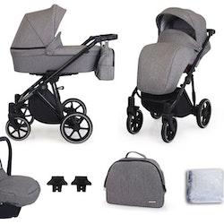 Barnvagn,Liggdel + Bilbarnstol + Sittdel - 3in1 Molto