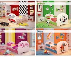 Kopia Barnsäng Happy 140x70 med sidoskydd & låda