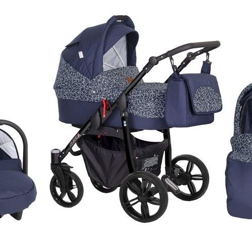 Barnvagn,Liggdel + Bilbarnstol + Sittdel - 3in1 Silver