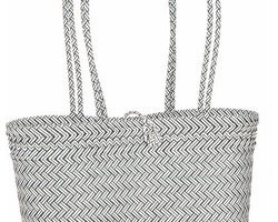 Flätad väska svart/vit