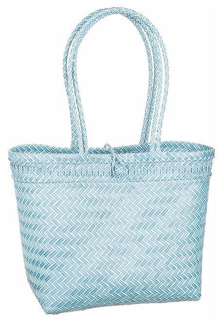 Flätad väska blå