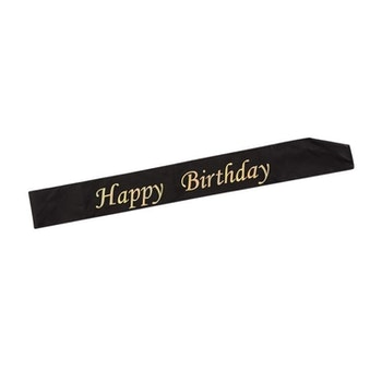 Ordensband HAPPY BIRTHDAY GULD/SVART