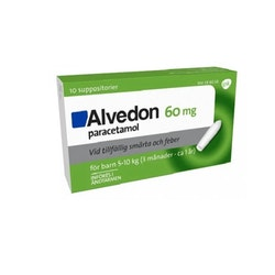 Alvedon, suppositorium 60 mg 10 st (5-10 kg)