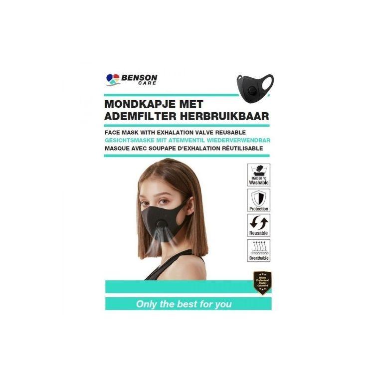 Återanvändningsbar Munskydd med utandningsventil 2 pack