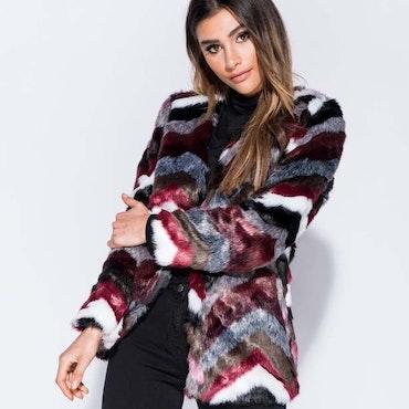 Multicolour Faux Fur Coat