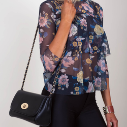 Floral Print Frill Front Mesh Top