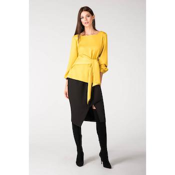 Elegant Mustard Satin blus