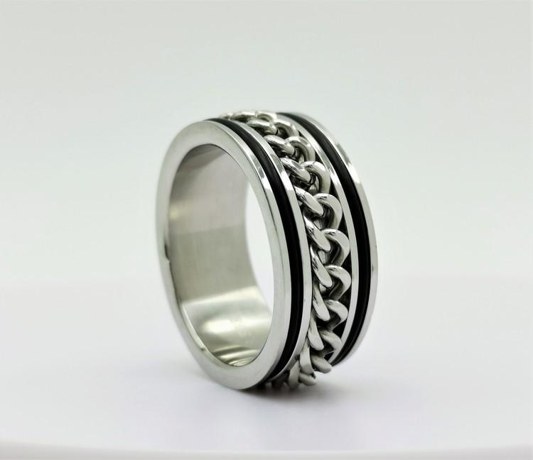 Chic chain leather Stainless Steel Ring bild 1 är en vacker maskulin herr ring, passar perfekt som present samt som förlovningsring