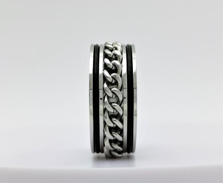 Chic chain leather Stainless Steel Ring bild 2 är en vacker maskulin herr ring, passar perfekt som present samt som förlovningsring