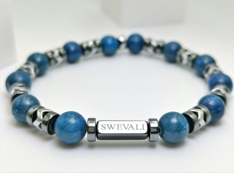 Galaxy Blue bild 2, vackert armband i en snygg kombination. Armbandet är unisex och passat både män och kvinnor. Otroligt vacker Pärlarmband från SWEVALI.