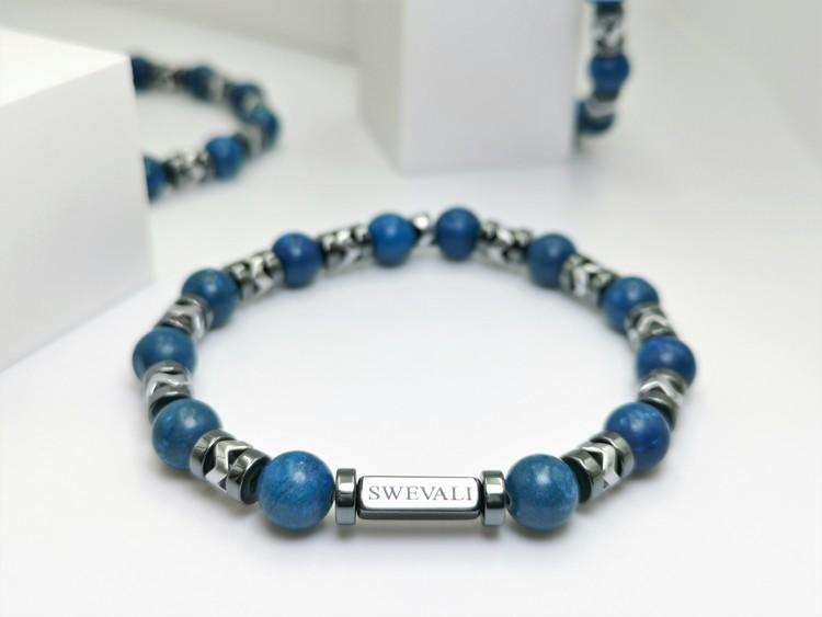 Galaxy Blue bild 1, vackert armband i en snygg kombination. Armbandet är unisex och passat både män och kvinnor. Otroligt vacker Pärlarmband från SWEVALI.