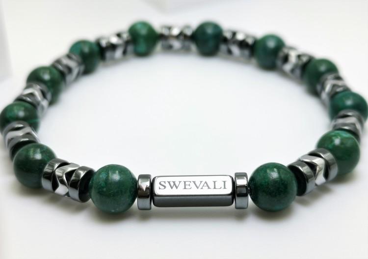 Galaxy Green bild 2, vackert armband i en snygg kombination. Armbandet är unisex och passat både män och kvinnor. Otroligt vacker Pärlarmband från SWEVALI.