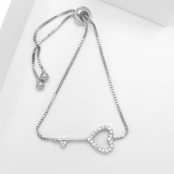 Hearts Key Silver Edition Armband with Chain - SWEVALI