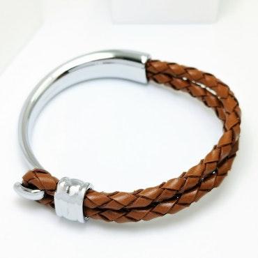Concept Brown Leather Metal Armband - SWEVALI