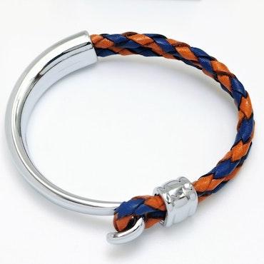 Concept Orange Blue Leather Metal Armband - SWEVALI