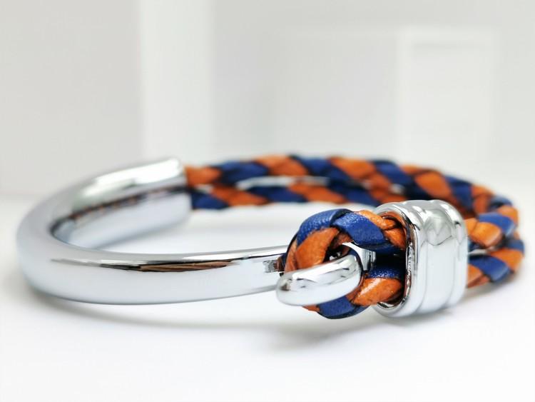 Concept Orange Blue Leather Metal Armband bild 1, vacker kombination av stainless steel samt läder. Perfekt present.