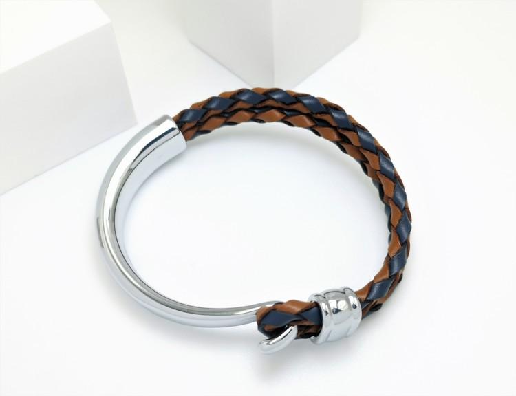 Concept Orange brown Blue Leather Metal Armband bild 2, vacker kombination av stainless steel samt läder. Perfekt present.