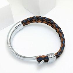Concept Brown Blue Leather Metal Armband - SWEVALI