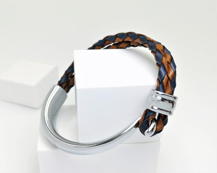 Concept Orange brown Blue Leather Metal Armband bild 3, vacker kombination av stainless steel samt läder. Perfekt present.
