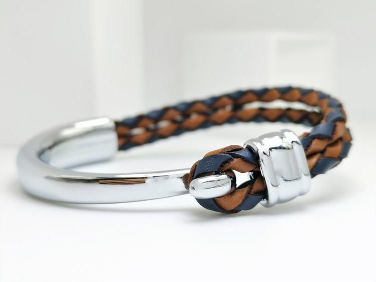 Concept Orange brown Blue Leather Metal Armband bild 1, vacker kombination av stainless steel samt läder. Perfekt present.