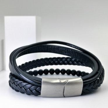 Leather & Pearl Black Armband - SWEVALI