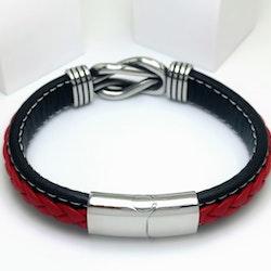 Sailor Knot RedBlack Leather Armband - SWEVALI