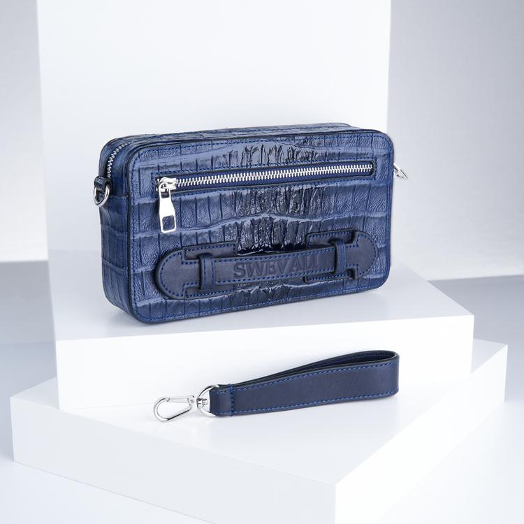 "Leather cluth bag ""Croco Blue Night"" mini charm"