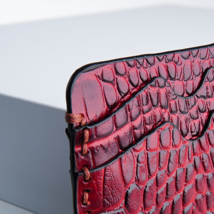 "Leather card holder ""Croco carmine"" The opulent"