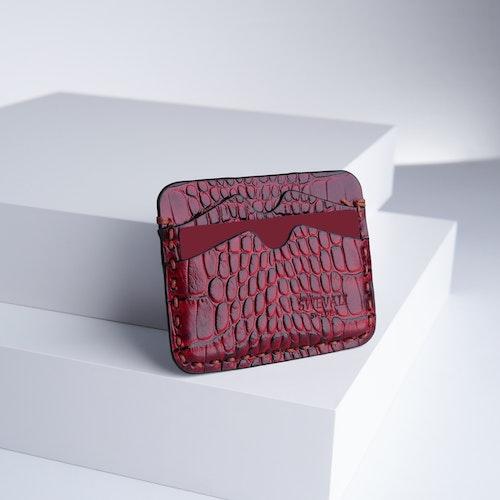 "Leather Card Holder ""Coco Carmine"" The opulent - SWEVALI"