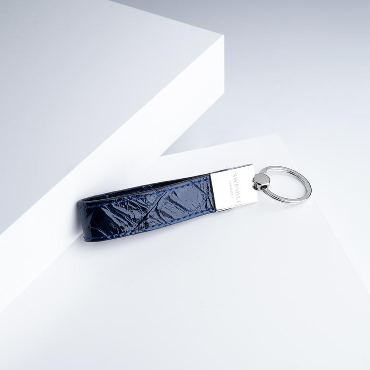 "Leather Key Holder ""Croco Blue Night"" the key from swevali"