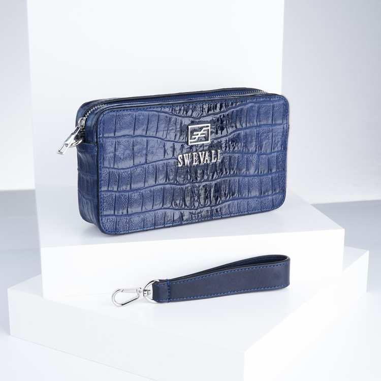 Leather set bags exotic croco blue night - clutch and sling bag with mobile case and pouch plus card holder and keyholder . bild 3