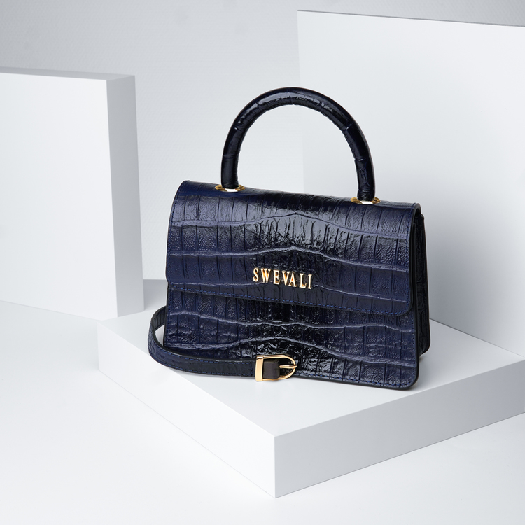 Leather set bags exotic croco blue night - clutch and sling bag with mobile case and pouch plus card holder and keyholder . bild 2