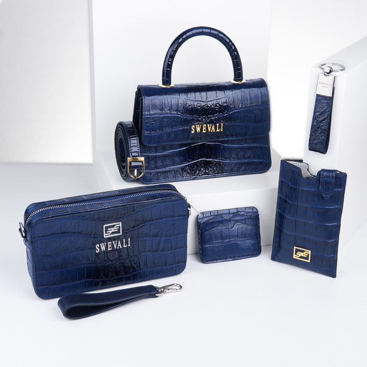 Leather set bags exotic croco blue night - clutch and sling bag with mobile case and pouch plus card holder and keyholder . bild 1