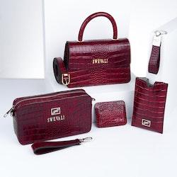 "Luxury Leather Bags Set ""Coco Carmine"" - SWEVALI"