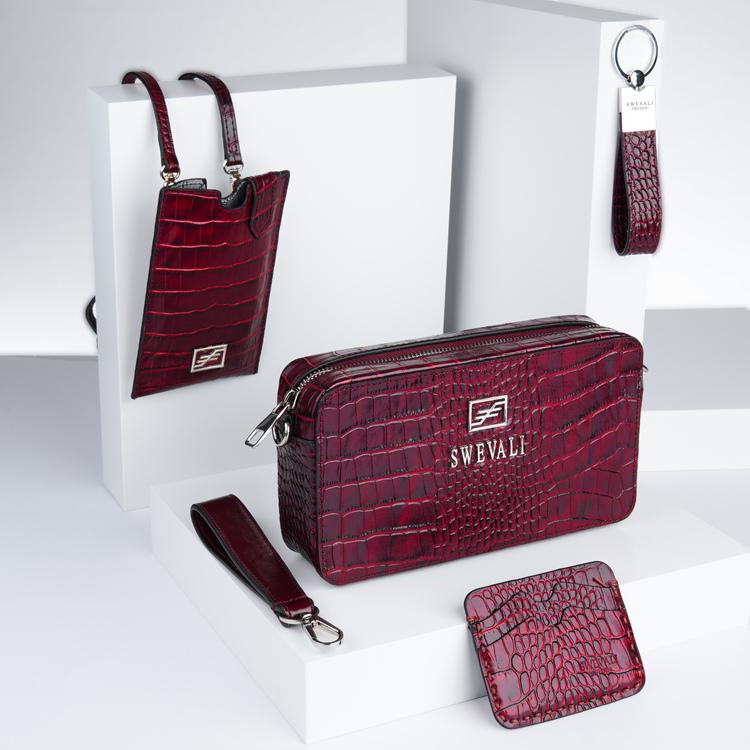 "Business Class Leather Bags Set ""Coco Carmine"" - SWEVALI"