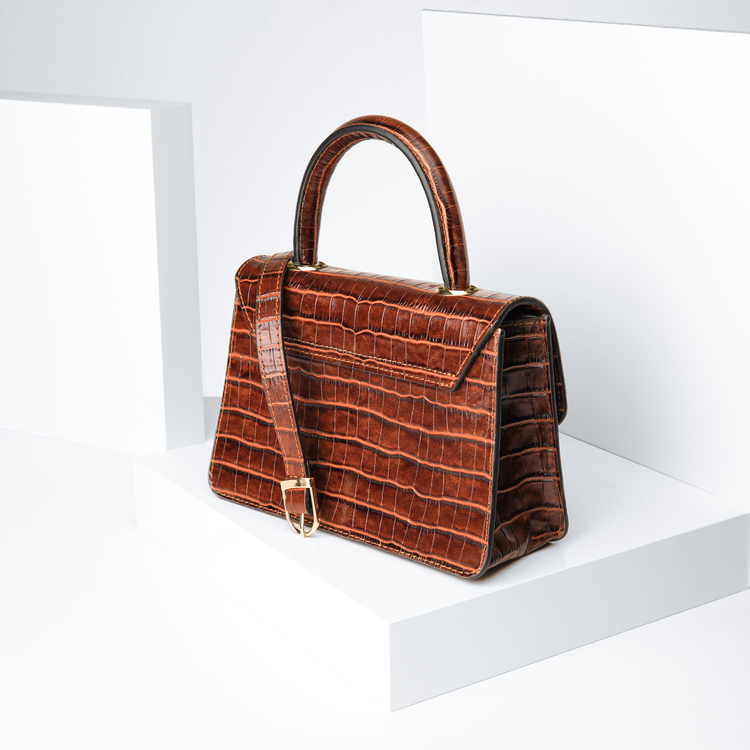 "Leather sling bag ""Croco Sahara"" The classy"