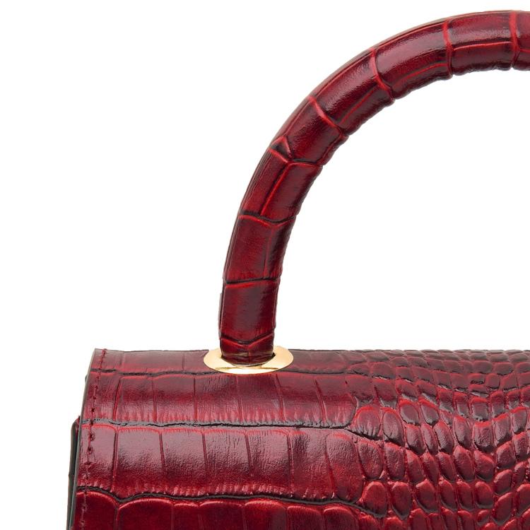 "Leather sling bag ""Croco carmine"" The classy"