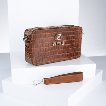 "Leather Clutch Bag ""Coco Sahara"" Mini Charm - SWEVALI"